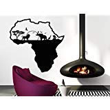 African Safari Wall Decal African Map Vinyl Stickers Animals Housewares Art Interior Nursery Bedroom Removable Home Decor C553 ()