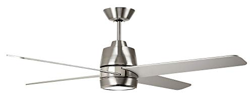 Emerson CF444BS Zeke Ceiling Fan, Brushed Steel with Polished Nickel Accents
