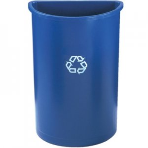 Rubbermaid Commercial Half-Round Recycling Container, Plastic, 21 gal, Blue - Includes one waste receptacle.