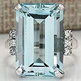 Ladies Sterling Silver Cocktail - Sumanee Vintage Women 925 Silver Aquamarine Gemstone Ring Wedding Jewelry Size 6-10 (7)