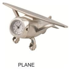 Bansons Power Airplane Silver Clock