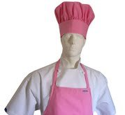 CHEFSKIN Pink Chef Apron and Hat Set New Ultralight Fabric, Adjustable Soft (Adults (fits Most))