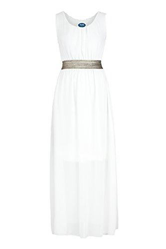 Chiffon AO longue Blanc Bretelles Robe ErT5qr