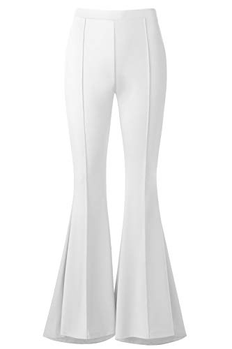 BaiShengGT Palazoo Pants, Womens Boho Comfy Stretchy Bell Bottom Flare Pants XL White -