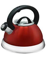 Copper Stainless Encapsulated Bottom - Stainless Steel Whistling Tea Kettle - 2.8 Liter Encapsulated Tea Maker Pot Red