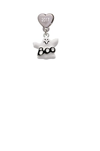 BOO Ghost Custom Year Stainless Steel Heart Bead Charm -
