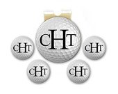 Magnetic Golf Ball Markers - Personalized Monogram Golf Ball - Set of 5 Markers Plus Hat Clip