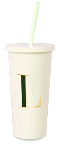 Kate Spade New York Insulated Initial Tumbler with Reusable Silicone Straw, 20 Ounces, L (Green)