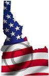 "Idaho shaped US United States Wavy Flag Sticker 4"" x 6"""