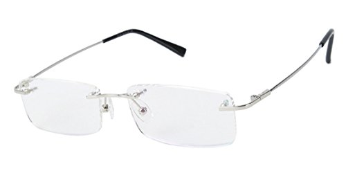 Agstum Titanium Alloy Flexible Rimless Frame Prescription Eyeglasses (Silver)