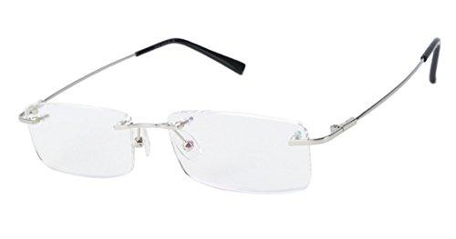 Agstum Blue Light Blocking Glasses - Flexible Rimless Titanium Alloy Prescription Eyeglasses Frames Clear Lens