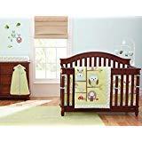 12 Pieces Baby boy/Girl Crib Bedding Set Enchanted Forest,Owls, Squirrels,Green