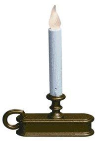 Single Tier Holiday Amber Flame Window Candle Battery Operated - Antique Brass