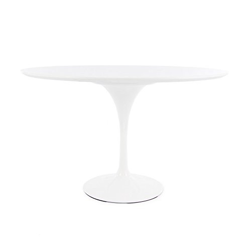 Mesa redonda estilo tulipan., Laca de alta resistencia blanca AC, 120cm DINING HEIGHT
