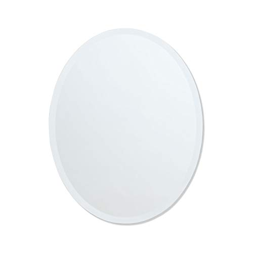 The Better Bevel Frameless Oval Wall Mirror Professional Grade Copper-Free Mirror Bathroom, Vanity, Bedroom Mirror 24-inch x 36-inch