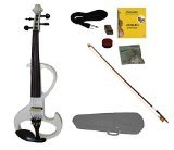Merano MVE20WT-A 4/4 Full Size Ebony Electric Silent Violin with Case and Bow, White by Merano