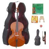 GRACE 4/4 Size Natural Cello with Hard Case + Soft Carrying Bag+Bow+Rosin+Extra Set of Strings+Extra Bridge+Pitch Pipe by Grace