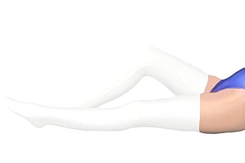 50's Dance Costume Ideas (Marvoll Lycra Spandex Zentai Long Stockings (50cm, White))