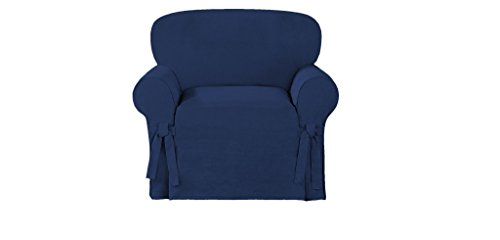 Chezmoi Collection Soft Micro Suede Solid Cover Slipcover with Elastic Band Under Seat Cushion (Armchair, Navy)
