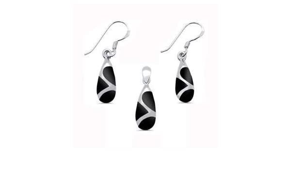 Small Black Onyx Teardrop Shaped 925 Sterling Silver Dangle Earrings