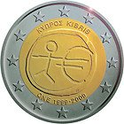 10 Euro Coins (2009 Cyprus 2 Euro Commemorative Coin, 10th Anniversary of Euro)