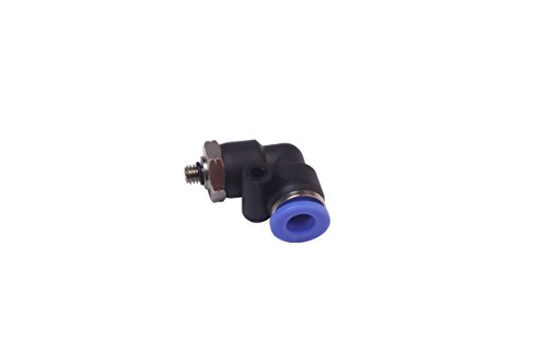Generic Pneumatic Push to Connect Fitting 6mm OD Tube x 10-32 UNF Male Thread 90 Deg Swivel Elbow Coupler (Pack of 5) ()