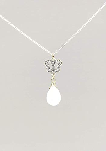 Small Moonstone Gemstone Pendant and Sterling Silver Chain, June Birthstone 18