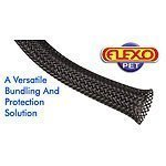 Techflex PTN0.25BK25 Flexo PET General Purpose 1/4-inch Braided Cable Sleeve, Black, 25 Foot