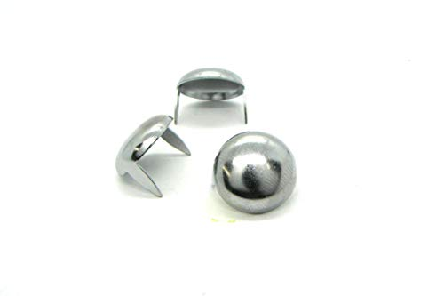 Chrome Dome Studs - Size 16 - Brass Base Metal Studs - Ideally Used for Denim and Leather Work - Classic Two-Prong Studs - Pack of - Chrome Pyramid Stud