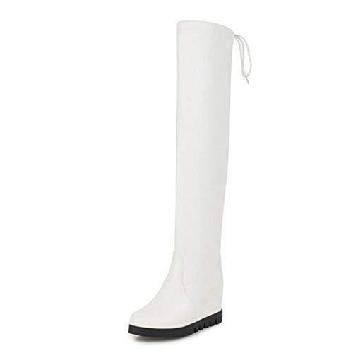 HAOLIEQUAN New Overknee Stiefel Frauen Lace Up Winter Frauen Schuhe Innen Heels Lange Stiefel Mode Einfache Schuhe Größe 33-43