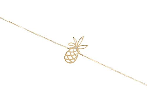 Gold Pineapple Bracelet, 9K, 14K, 18K Yellow Gold Bracelet, Pineapple Charm With White Diamond/code: 0.002