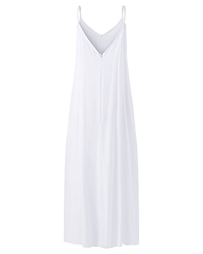 White Cami Plain Dress StyleDome Beach Loose Off Sundress Pockets Summer Women's V Neck Casual Flowy qwfFBp6