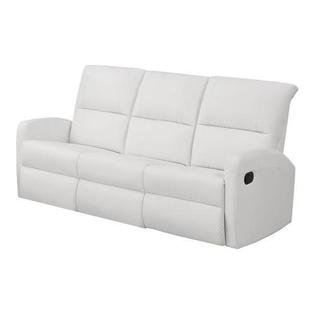 Monarch Specialties I 84WH-3 Reclining Sofa in White Bonded Leather