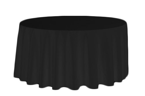 Perfectmaze 10pc Rectangle Round Tablecloths for Home, Wedding, Holidays; Birthday Party, Bridal / Baby Shower, or Restaurant Use (Round 120'', Black) by Perfect Maze