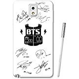 Bts Army And Signatures White Samsung Galaxy Note 3 Case Black Rubber QI (Bts Army)