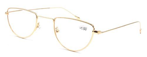Amillet Vintage Half Moon Gold Metal Reading Glasses - Moon Vintage Reading Half Glasses