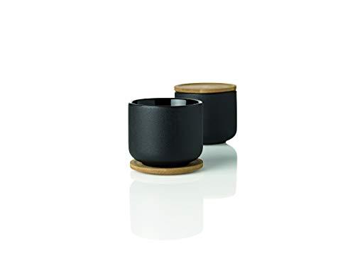 Stelton Theo Tea Mug with Coaster, Cup, Stoneware, Bamboo, Black/Brown, 200 ml, 2-Pcs., x-632