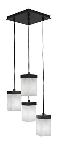 - Toltec Lighting 3214-ES-531 Nouvelle - Four Light Cord Mini Pendant, Espresso Finish with White Muslin Glass
