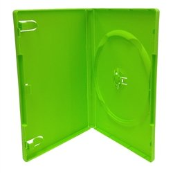Amaray Dvd Clear Case - 100 Pack 14mm Solid Green Standard Single DVD Case
