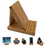 Yisen Wood Bamboo Foldable Multi-Angle Stand Holder for Smartphone, Tablet, iPhone 8/8 Plus/7/7 Plus, iPhone X, Galaxy Note 8, iPad 10.5, Nintendo Switch,