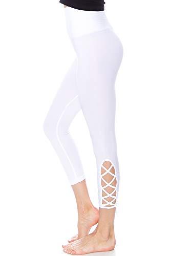 KAYLYN KAYDEN KLKD C023 Women's High Waist Stretch Tummy Control Seamless Capri Ankle Length Lattice Leggings Yoga Pants (White, Large/X-Large)