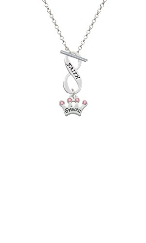 Silvertone Small ''Princess'' Crown with Pink Crystals Faith Infinity Toggle Chain Necklace