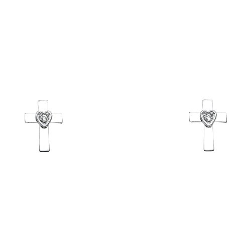 14k White Gold Cross Stud Earrings with Screw Back (Cross Stud Earrings Gold)