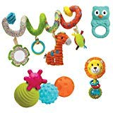 Go Gaga Infantino Spiral, Squeeze, Roll & Rattle Gift Set (4 Classic Toys in One)