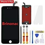 for Black iPhone 6 Plus 5.5 inch Screen Replacement Retian LCD Touch Screen Digitizer Fram Assembly Full Set with Tempered Glass Screen Protector + Tools + Instructions by Brinonac
