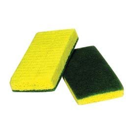 ACS Industries 74-612 Medium Duty Green Backed Yellow Cellulose Scrubber Sponge, Antimicrobial, UL Approved, Individual Wrapped, 6