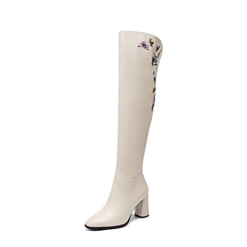 Eleganti Lunghi Inverno Alti Hy Scarpe Comfort E Tacco Da Ricamata Stivali Donna Nuovi Beige Con Autunno Quadrata Alto Testa Caviglia xO8p4R