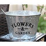 Chicfulthings Farmhouse Galvanized Metal Flowers & Garden Planter Pot