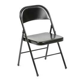 All Steel Folding Chair, Black - Lot of 4
