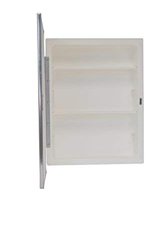 Mirrors and More Recessed Framed Mirror Bright Steel Medicine Cabinet | Adjustable Shelves | Bathroom | Kitchen | 16